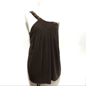Bcbgmaxazria brown beaded one shoulder blouse